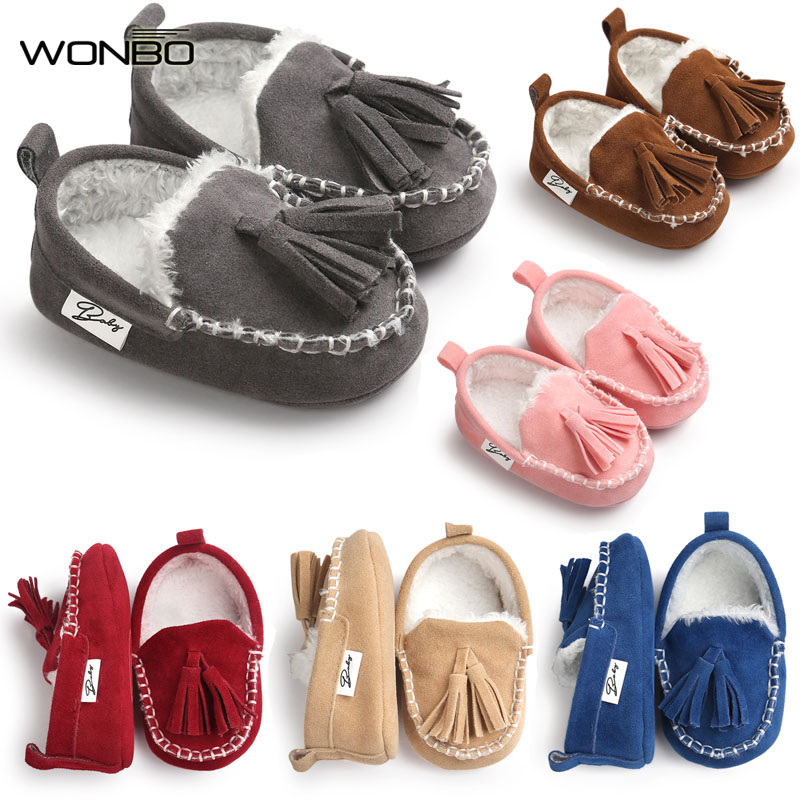 Wonbo 2017 Winter Tassel Baby Moccasin Soft Bottom Infant Moccasin-gommino Newborn Babies Shoes PU Leather Prewalkers Boots