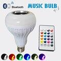 2017 E27 Lâmpada RGBW Inteligente Sem Fio Bluetooth Speaker Música Jogando Dimmable 12 W Lâmpada LED Lâmpada Luz com 24 Teclas de Controle Remoto controle