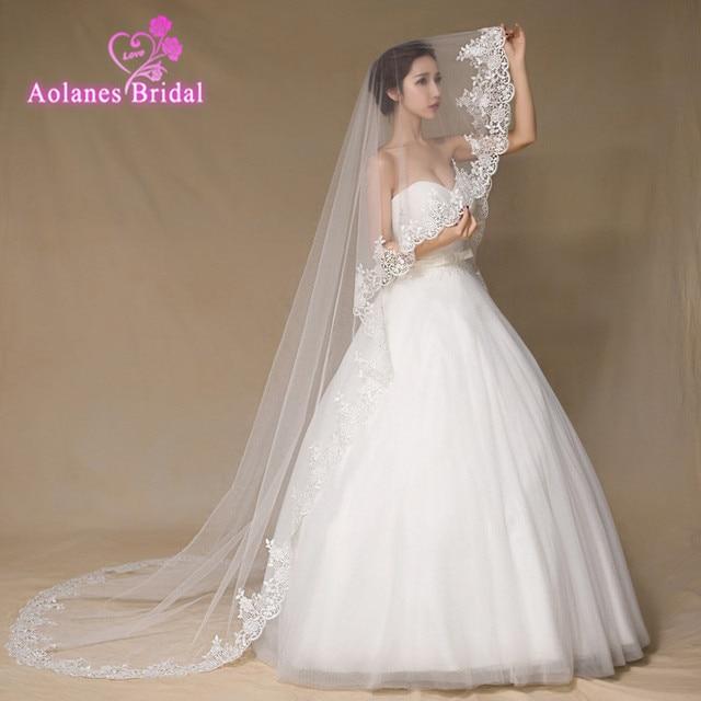 Bridal Veils Lace Edge One Layer Appiques 2.8M Long Tulle Ivory 2017 Veu De Noiva Bridal Accessories Wedding Lace Bridal Veils