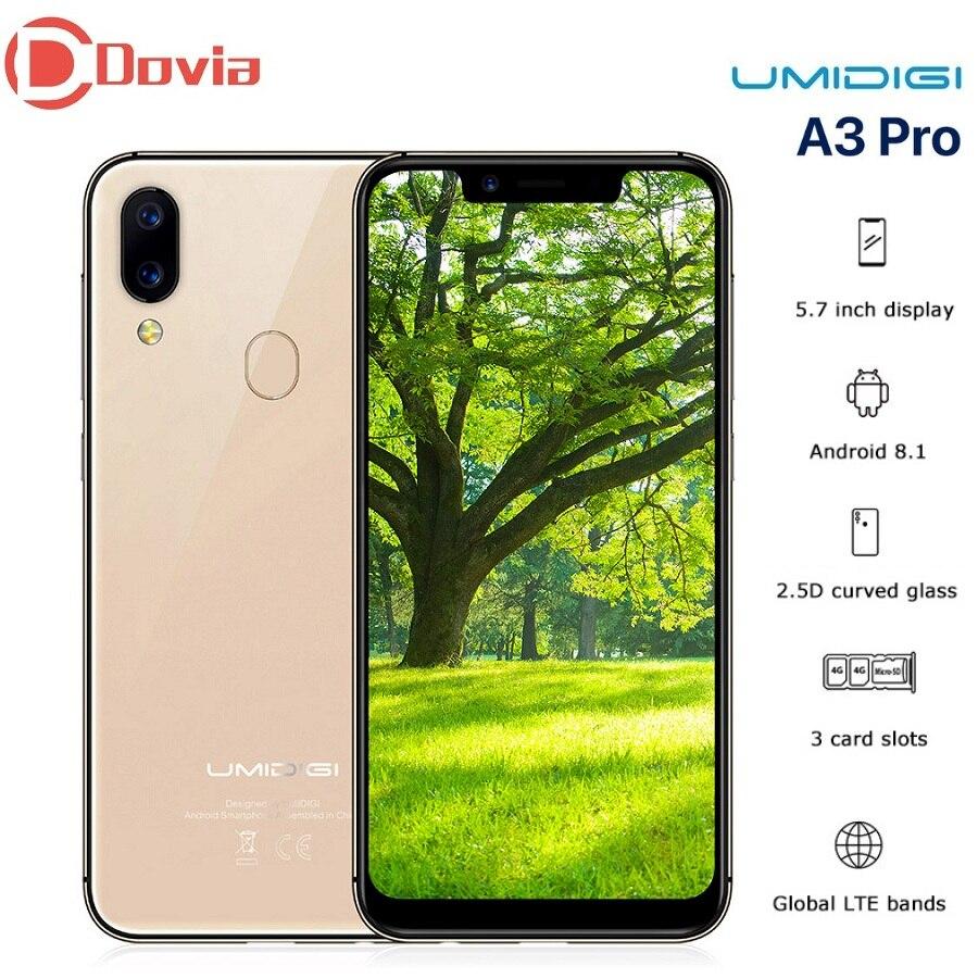 UMIDIGI A3 Pro 4G Smartphone MTK6739 5.7 pouces 1512x720 Pixels Quad Core 3 GB RAM 32 GB ROM Android 8.1 téléphone portable à empreinte digitale