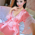 2017 New Lace Stitch Long Nightgown Robe Set Women Elegant Silk Bathrobe Pajamas Long Sleeve Ladies Cute Sexy Lingerie Nightwear