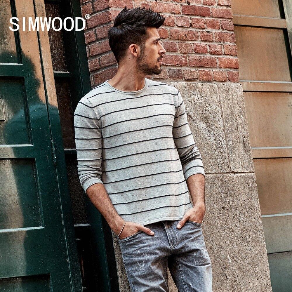 SIMWOOD 2018 autumn New Slim Fit Striped Sweater Me