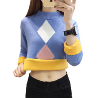 2019 New Winter Warm Sweater Pullover Women Plus Velvet Long sleeved Knit Half Turtleneck Sweater Women Jumper Casual Tops AA566