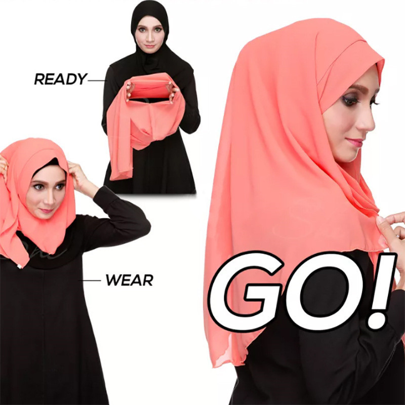 2019 NEW Women Chiffon Solid Color Muslim Head Scarf Shawls And Wraps Pashmina Bandana Easy Ready To Wear Hijab Stores