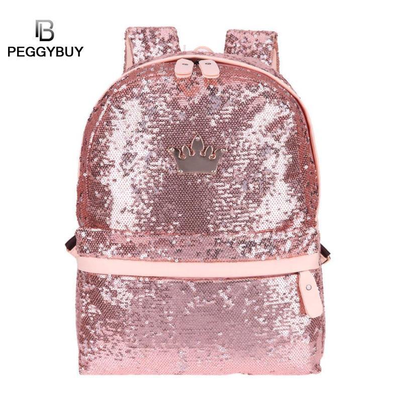 Mochilas Mulheres Brilhando Sequins Moda Viagem Pequena Backbag Lazer  Tendência Sacos de Bling Meninas Bookbag Bolsa 2996786276af