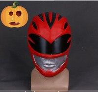 Top Grade100 Latex Movie Power Rangers Cosplay Mask Red Warrior Helmet Jason Halloween Mask Film Theme