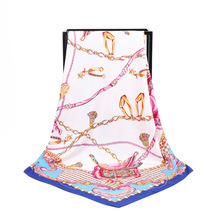 New Arrival Fashion Women soft satin brand scarf / Houndstooth Chain Printed quare silk scarves 100cm Gifts Wholesale