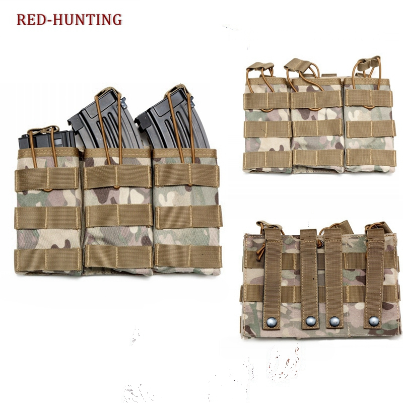 High Quality M4 M16 AR-15 Type Magazine Pouch Mag Holder Triple Airsoft MOLLE Mag Pouch image