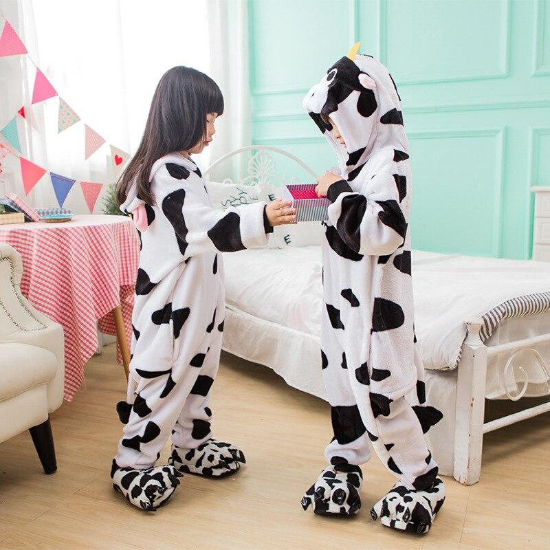 ecb7f4157 Lovely Cartoon Animal Anime milk cow Kids Unisex Cos Pajamas ...