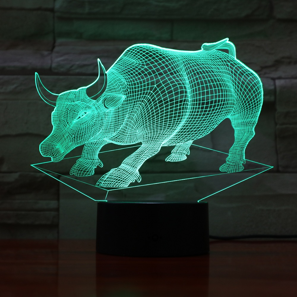 LED Lovely Animal Creative Night Lamp High Quality Acrylic 3D Bull Lights Nightlight Baby Bedroom Table Lamp With USB GX752