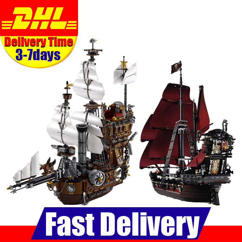 DHL LEPIN LEPIN 16002 Metal Beard's Sea Cow +16009 Queen Annes Revenge Building Blocks Bricks Toys Gifts free shipping lepin 16002 pirate ship metal beard s sea cow model building kits blocks bricks toys compatible with 70810