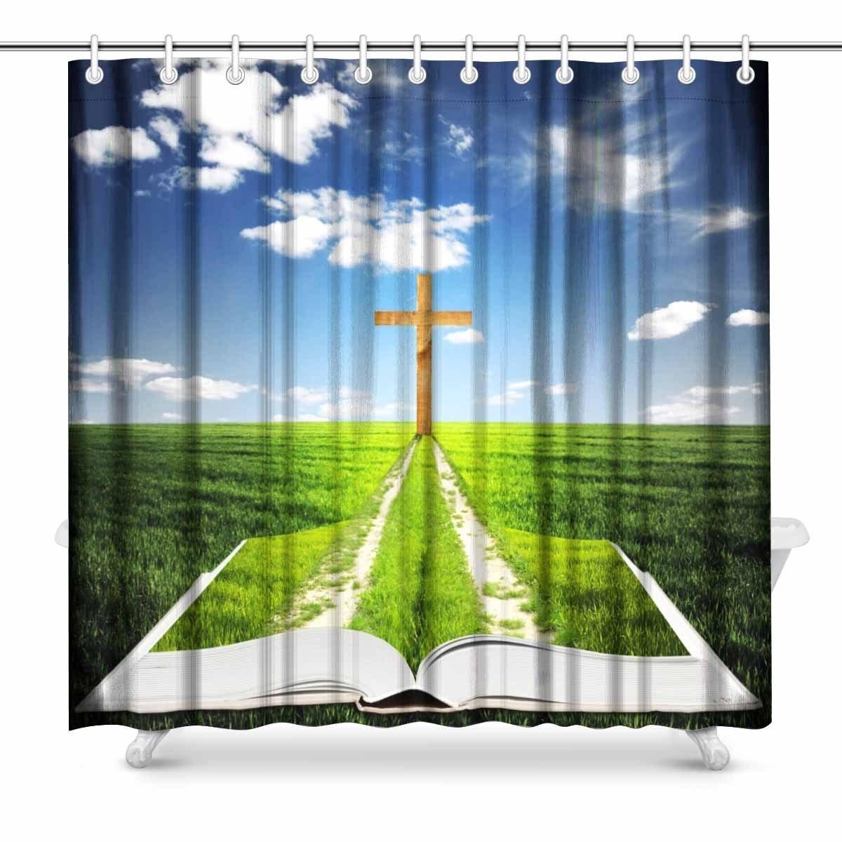 Cross Easter Stars Fabric Shower Curtain Set 72x72 Bathroom