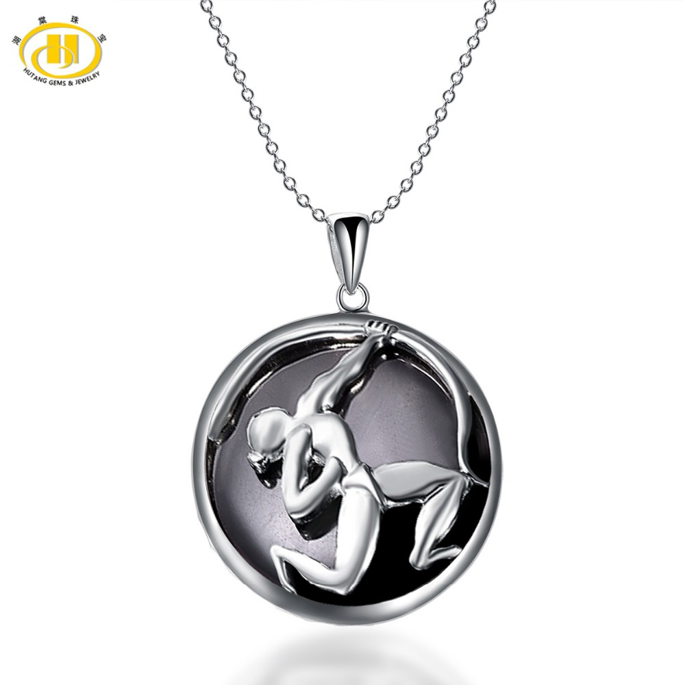 Hutang Fashion Sagittarius Zodiac Pendant Natural Black Jade Solid 925 Sterling Silver Necklaces Women's Men's Fine Jewelry