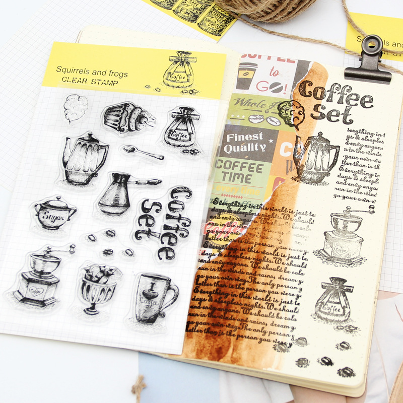 Coffee Beans Transparent Stamp Rubber Silicone Stamping Scrapbooking Diary DIY Album Paper Card Craft Coffee Tea Stamp Set Decor lovely bear and star design clear transparent stamp rubber stamp for diy scrapbooking paper card photo album decor rm 037