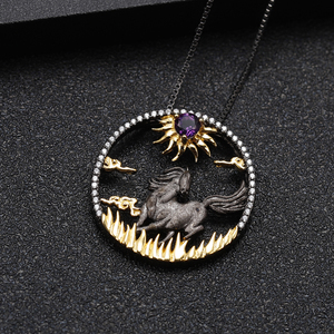Image 5 - GEMS BALLET Natural Amethyst  Zodiac Jewelry 925 Sterling Silver Handmade Sun & Horse Gemstone Pendant Necklace For Women