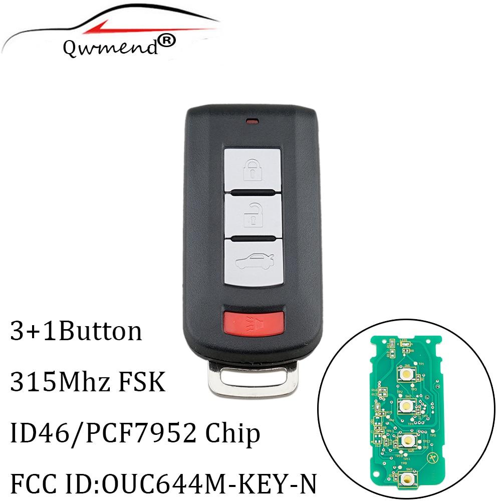 QWMEND 4Buttons Smart Remote Key 315MHz For Mitsubishi Lancer Outlander 2008 2018 OUC644M KEY N Car keys