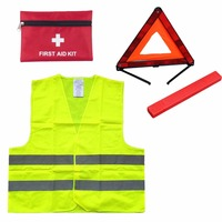 First Aid Kit Warning Tripod Safety Vest Car Safety For Roadside Emergencies Warning Triangle Sign Reflective