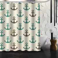 Original Fabric Shower Curtain Custom Retro Seamless Pattern Of Nautical Anchor Shower Curtain 48 IN X
