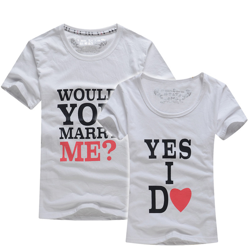 Fashion couple t shirt tops for 2015 lovers men women for Couple printed t shirts india