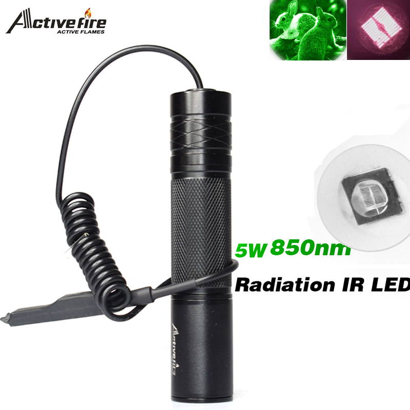 Zoom Infrared Radiation IR LED Night Vision Flashlight Camping Light LED torch Infrared Flashlight Activefire 5W Torch 850nm new osram 850nm 5w infrared ir night vision led flashlight torch light 18650 lamp
