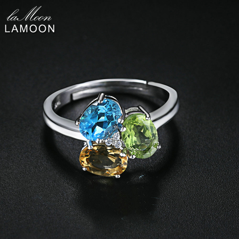 Fine Jewelry Rings Buy Cheap Lamoon Natural Oval Topaz Peridot Citrine S925 Adjustable Rings Silver Color 925-sterling-silver Gemstone Fine Jewelry Lmri062 Spare No Cost At Any Cost