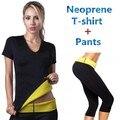 (Calça + camiseta) Super hot shapers controle calcinhas calções mulheres camisa trecho de neoprene emagrecimento shaper do corpo
