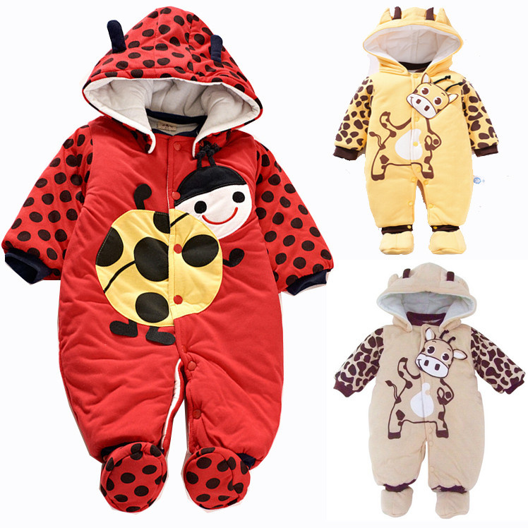 Newborn 2016 Baby Winter Warm Rompers For Infant Clothing Girls Boys Toddler Hoodie Style Cute Jumpsuit Baby Romper Hot Sale babyfeet new winter warm boots newborn baby boys girls cute shoes infant toddler soft sole anti slip snow booties size3 5 11