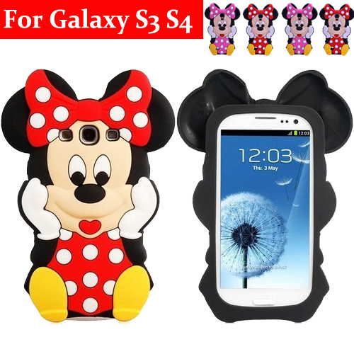 3D Cute Cartoon Minnie Mickey Mouse Bow Silicone Soft Case Back Cover Samsung Galaxy S3 I9300 S4 i9500 Bags Shell  -  ShenZhen Kala Trade Co., Ltd. store