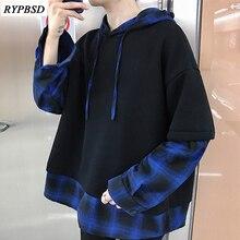Patchwork Men Sweatshirts 2019 Fashion Casual Loose Harajuku Oversize Hoodies Warm Brand