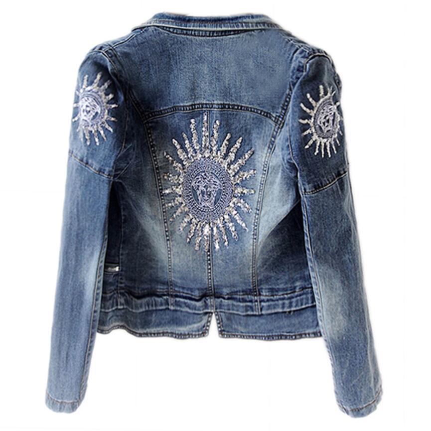 Grande taille 3XL 2018 automne nouveau mode Star jeans femmes Punk zipper Denim recadrée VINTAGE veste courte Denim manteau