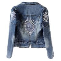 plus size 3XL 2018 autumn New fashion Star jeans women Punk zipper Denim cropped VINTAGE jacket short Denim Coat