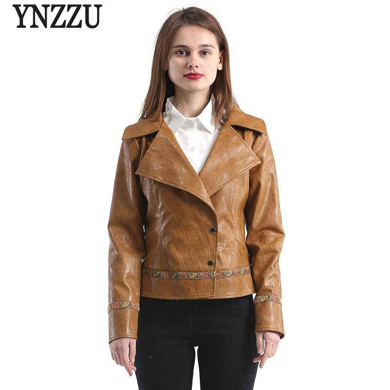 YNZZU 2018 Spring Autumn Women Faux   Leather   Jacket Short Embroidery Turn Down Collar Vintage PU Basic Jackets Female Coat YO518