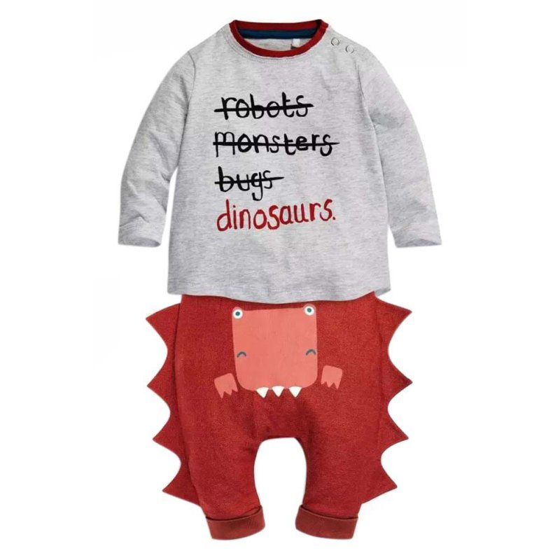 2 PCS Baby Boys Clothes Toddler Newborn Kids Outfits Long Sleeve shirt + Dinosaurs Pants Set