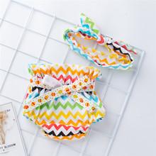 Bielizna dla niemowląt pieluchy dla niemowląt dla niemowląt dziewczyna Bowknot wzburzyć Bloomer spodnie treningowe majtki do toalety na pieluchy dla niemowląt bielizna majtki tanie tanio MUQGEW Poliester Unisex Nappy Underwear Stałe Dla dzieci Szorty