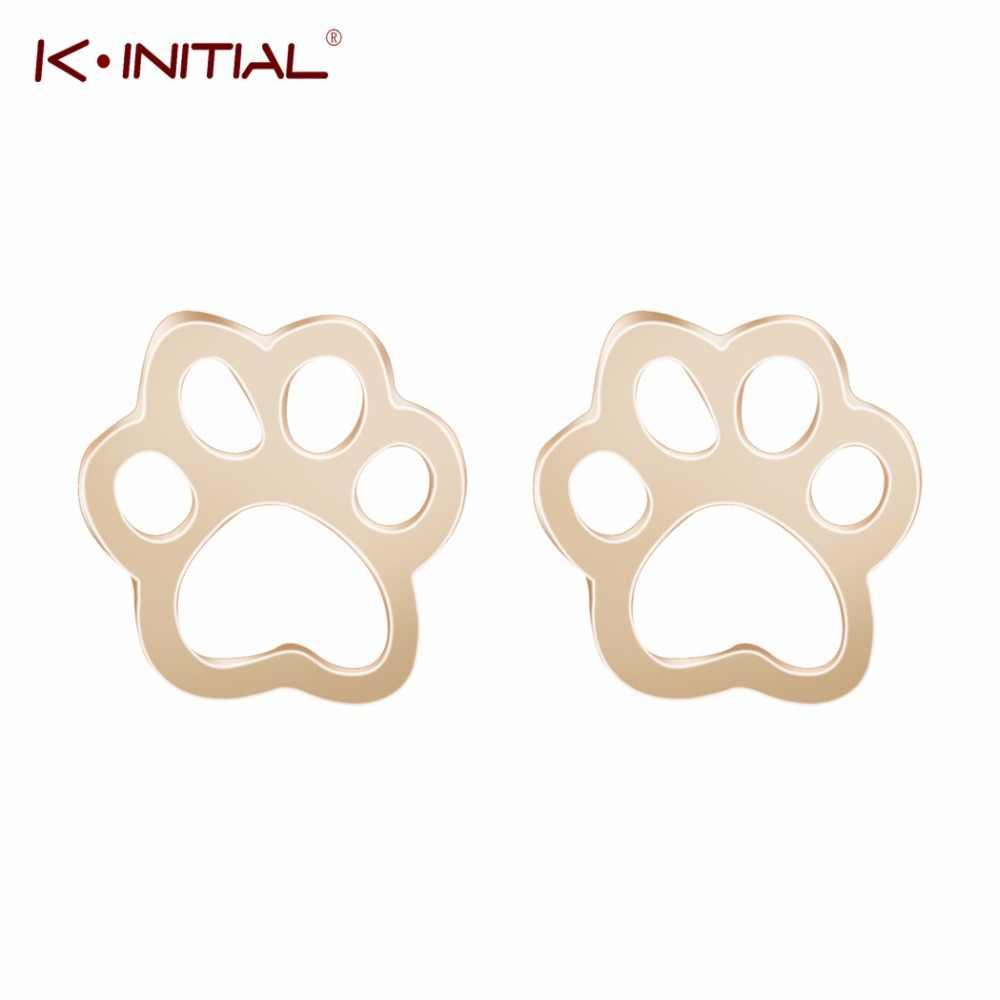 Kinitial พิมพ์ต่างหูแมวสุนัขหมี Paws พิมพ์ต่างหูสัตว์หัวใจเครื่องประดับสำหรับเด็กสัตว์เลี้ยงคนรักของขวัญ