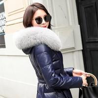 Зимний модный бренд большой Лисий меховой воротник с капюшоном 90% утиный пух пальто женский натуральная кожа оверсайз более толстые пухови