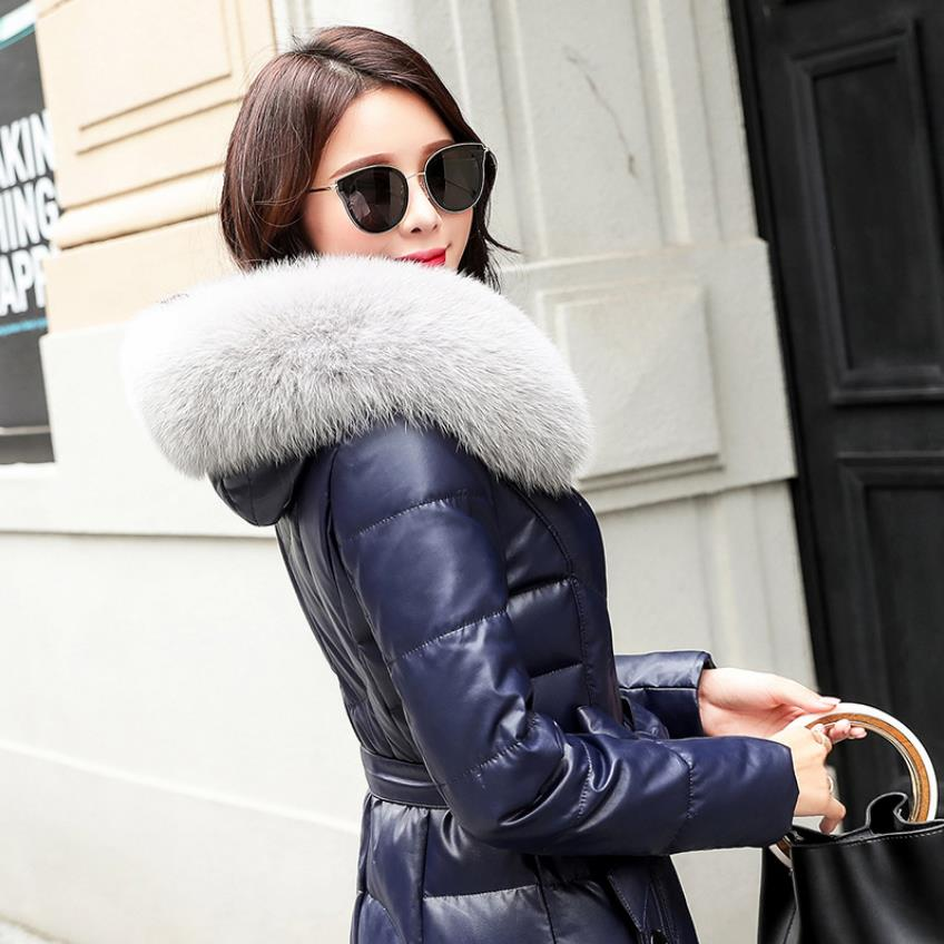 Winter fashion brand big fox fur collar hooded 90% duck down coat female real leather oversize longer thicker down parkas wq766