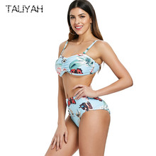 New Brazilian Split Bikinis Print Swimwear 2019 Bikini Plus Size Beach Wear Tube Top Beach Wear High Waist Women's Swimsuits rabbit print split top
