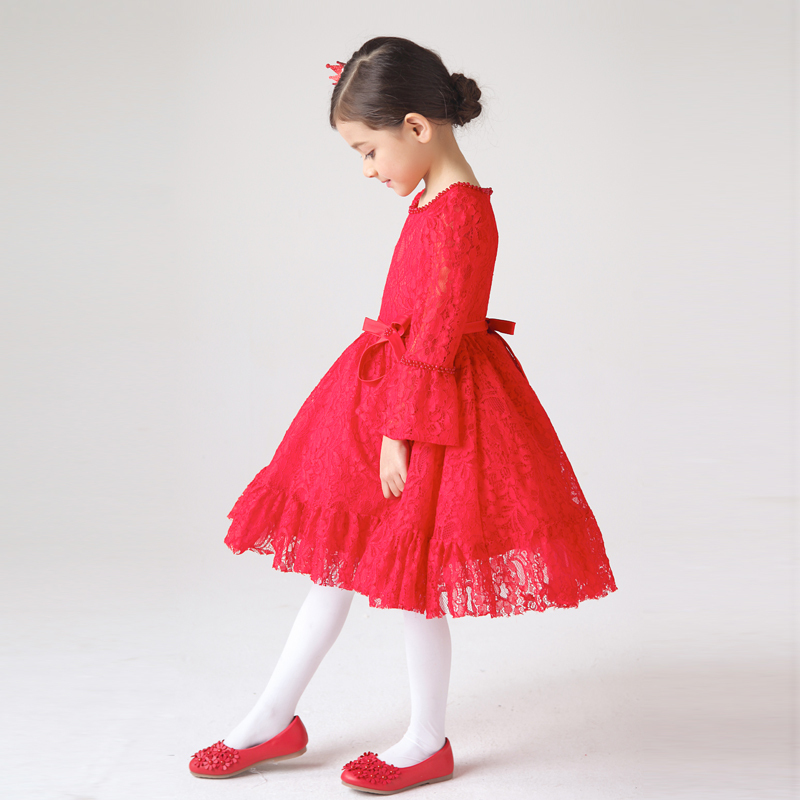 Aliexpress.com : Buy Red Lace Pageant Dress For Little Girls Full ...