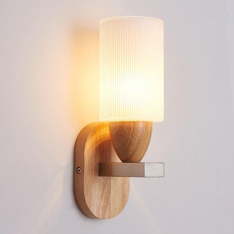 Oak Wood Simple Modern LED Wall Lamp Fixtures Indoor