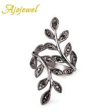 Ajojewel tamaño 6-9 Diamante de imitación negro anillo de hoja antigua mujeres Venta caliente Vintage joyería femenina al por mayor