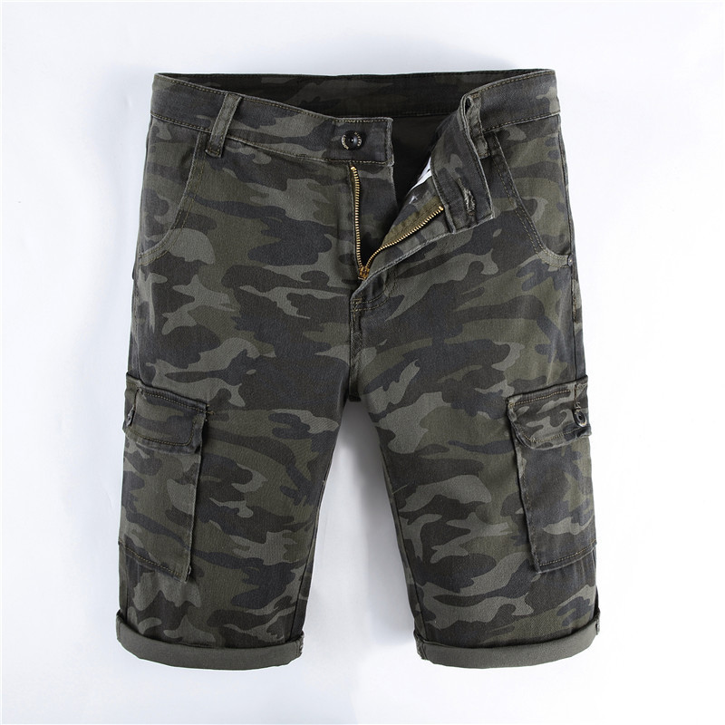 MORUANCLE New Mens Casual Camouflage Baggy Cargo Denim Shorts Military Style Camo Tactical Short Jeans With Multi Pockets