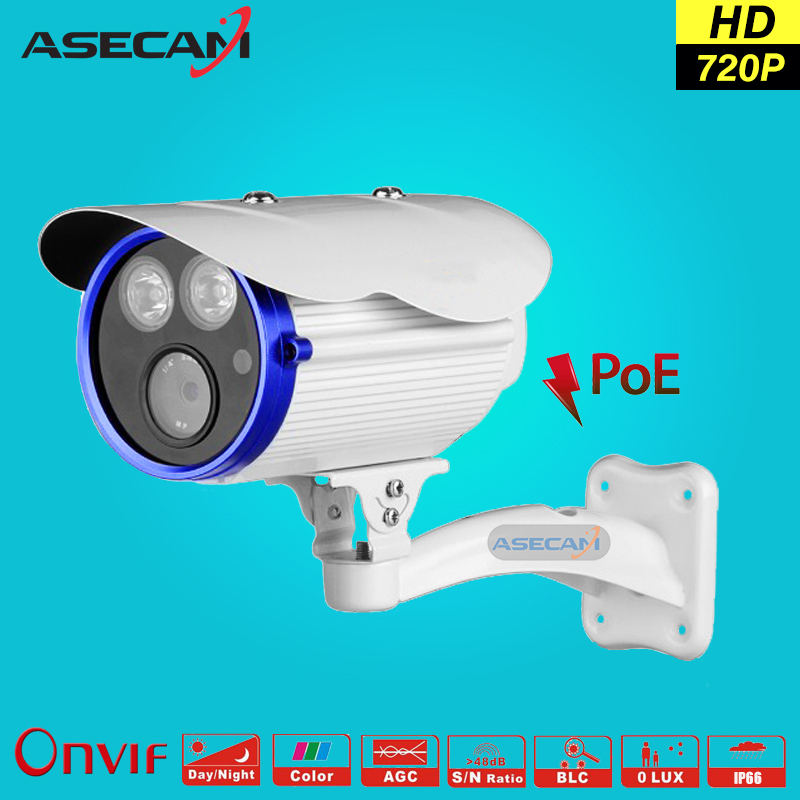 New 720P IP Camera POE 48V CCTV 2* IR Array LED  Bullet Waterproof Onvif WebCam Security Surveillance Network good Night Vision new model tr ip40ar731l poe 4pc 4mp array 30m ir network bullet security ip camera h264