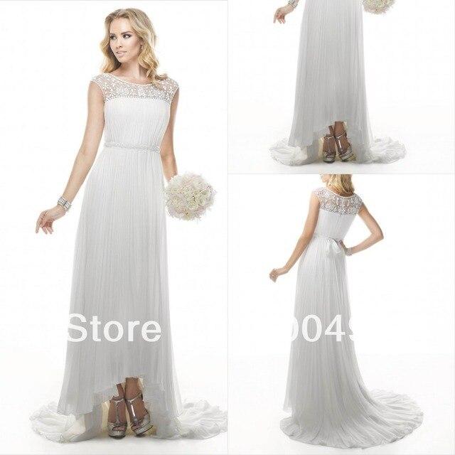 Grecian Inspired Chiffon Bridal Dress With Beaded Grosgrain Ribbon Belt Short Front Long Back Train Hi