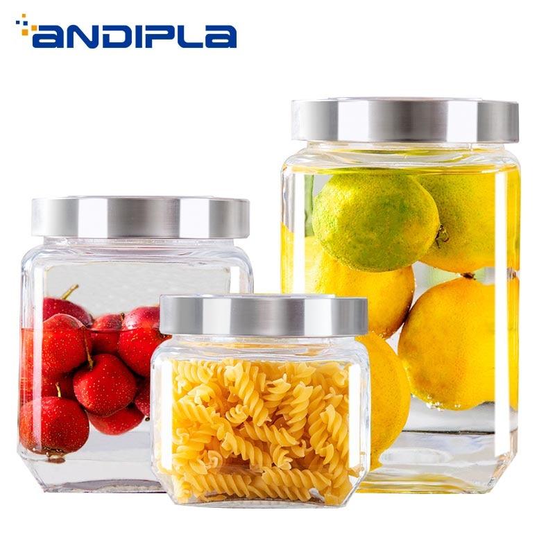 3 PCS/Lot pot de stockage en verre clair canettes de cornichon confiture de fruits réservoirs de miel écrou thé joint bouteille bidon accessoires de cuisine conteneur