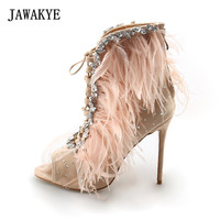 JAWAKYE New Sexy Peep Toe Feather Jeweled Sandals Women Cut Outs Lace UP Summer Women Fur Sandals Stiletto High Heels Shoes