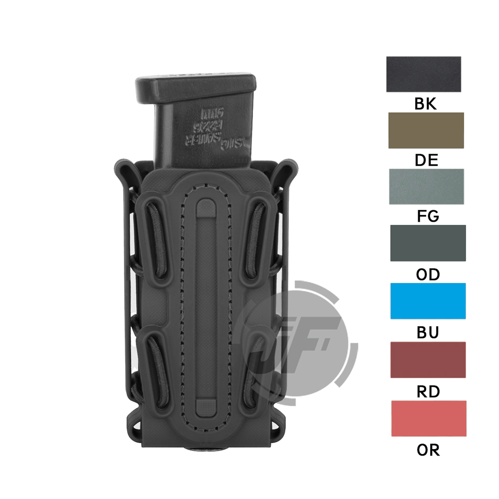 Tactical Scorpion Soft Shell Tall Pistol 9mm Single Stack & Double Stack .45 Caliber Magazine Pouch Carrier w/ Duty Belt Loop rocotactical basketweave police duty belt web duty belt with loop liner