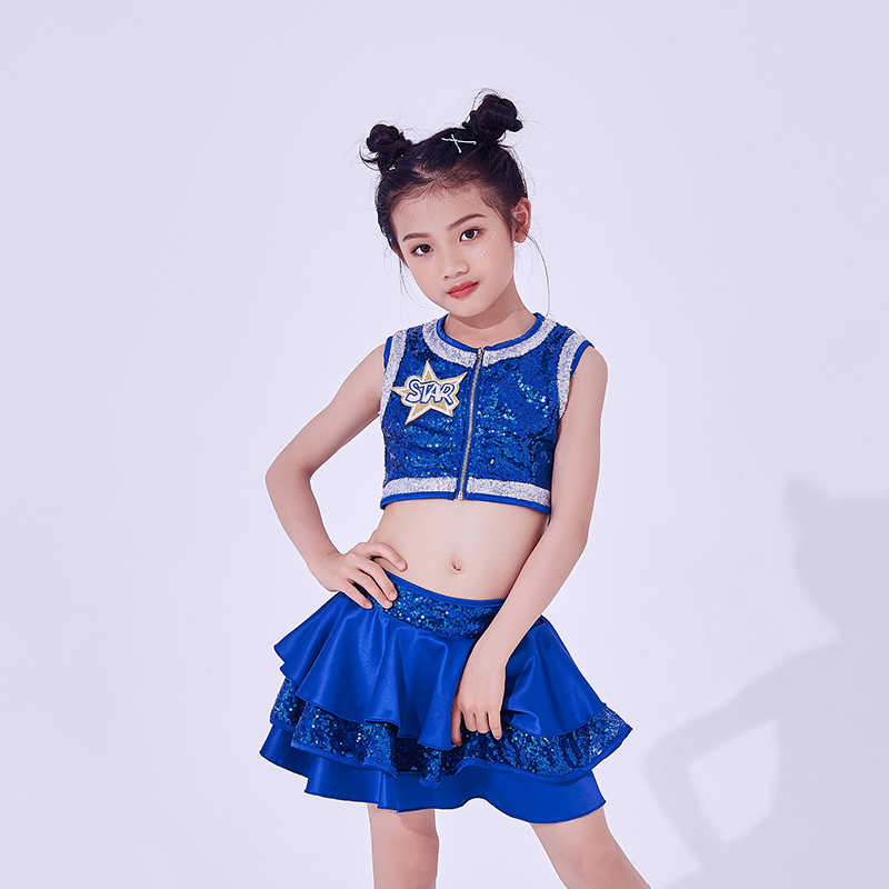95ebb0ceb497 ... Hip Hop Dance Costumes Kids Sequined Sleeveless Top Skirts Stage Outfit  Girls Cheerleading Child Street Dancing ...