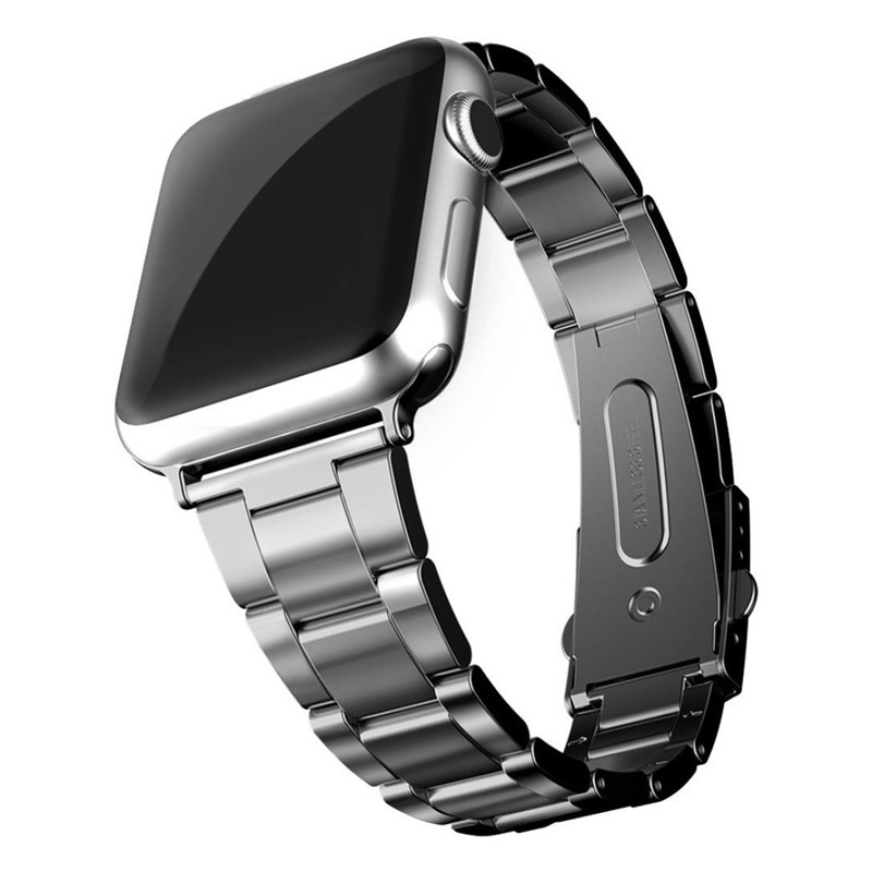 Luxury Stainless Steel metal strap for apple watch band 42mm 38mm iWatch 3 2 1 link bracelet band Watchband Elastic fold buckle wristband silicone bands for apple watch 42mm sport strap replacement for iwatch band 38mm classic stainless steel buckle clock