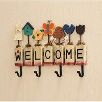 Welcome Wall Key Hooks Home Creative Hanger Bathroom Robe Hooks Metal Hooks with Wood Board 4 Iron Hook